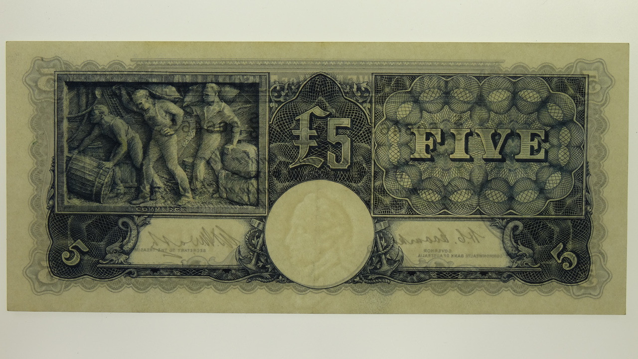 1949 Five Pounds Coombs / Watt Banknote in EF Condition Obverse