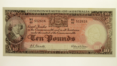 1960 Ten Pounds Coombs / Wilson Banknote in Unc Condition Reverse