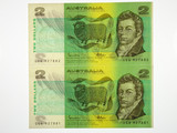 1985 Two Dollars Johnston / Fraser Consecutive Pair of Banknotes