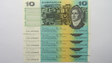 1983 Ten Dollars Johnston / Stone Consecutive Run of Five Banknotes