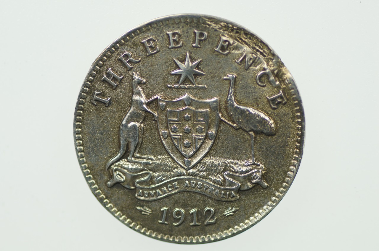 1912 Threepence Metal Peel Variety in Very Fine Condition Reverse