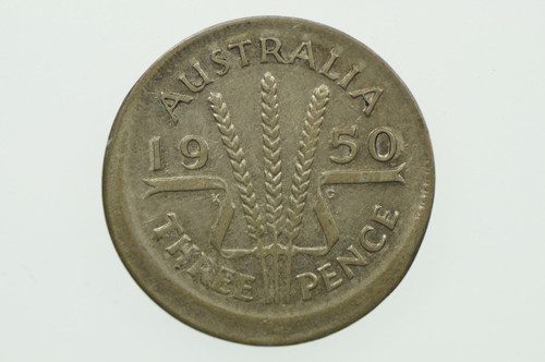 1950 Threepence Variety Error Mis-Strike in Very Fine Condition Reverse