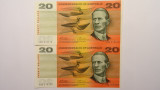 1972 Twenty Dollars Phillips / Wheeler Consecutive Pair of Banknotes
