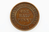 1913 Half Penny George V in Almost Fine Condition