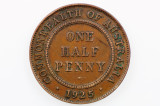 1925 Half Penny Variety Die Crack in Very Fine Condition