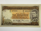1961 Ten Shillings Coombs/Wilson Semi Solid Numbered AH/56 099999 Banknote