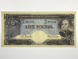 1960 Five Pounds Coombs / Wilson Last Prefix TD/09 Banknote