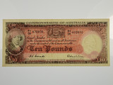 1954 Ten Pounds Coombs / Wilson Banknote in Very Fine Condition