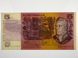 1991 Five Dollars Fraser / Cole First Prefix QGX Banknote in VF Condition
