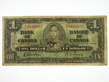 Canada 1937 One Dollar Banknote in Very Good Condition