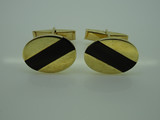 9ct Yellow Gold and Black Onyx Oval Cufflinks