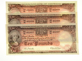 1960 Ten Pounds Coombs / Wilson Consecutive Run of Three Banknotes