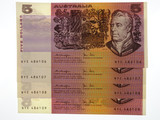 1979 Five Dollars Knight / Stone Run of Four Consecutive Banknotes