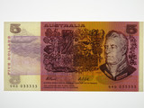 1991 Five Dollars Fraser/Cole Semi Solid Numbered QHD 033333 Banknote
