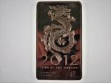 2012 Year of The Dragon Lunar Series 10oz 999 Fine Silver Bar