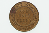 1934 Half Penny George V in Uncirculated Condition Reverse