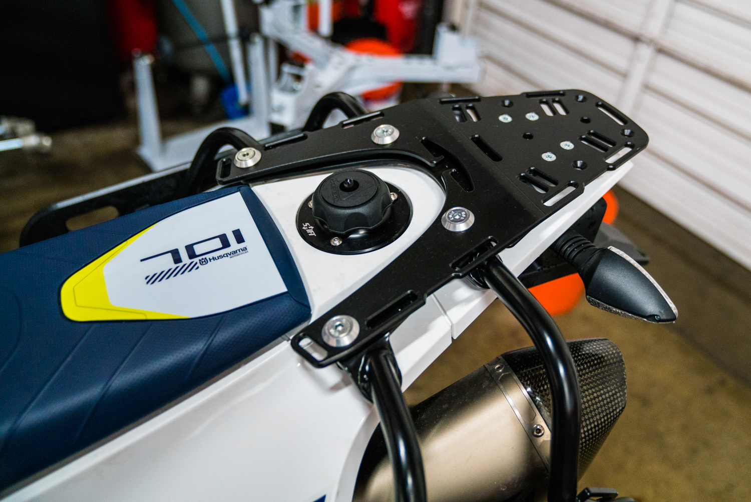 Second Time Around Ride Must Go On 701 Rally Build Rottweiler Husqvarna Wiring Harness Connectors A Brp Anti Vibration Steering Damper Mount Was Installed To Reduce Fatigue The Rider In Two Ways First By Adding Stabilizer You Have Piece Of
