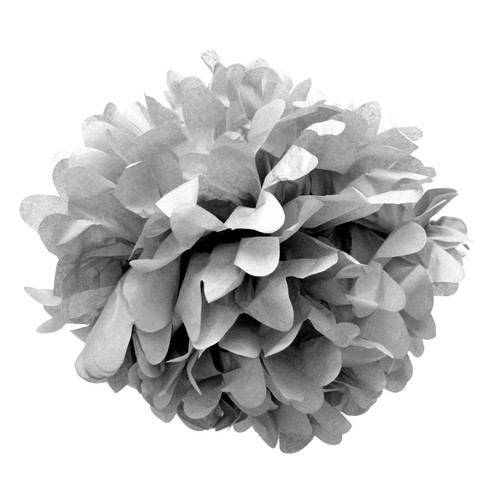 Grey tissue paper pom pom decoration for birthday parties, weddings, hen dos and baby showers