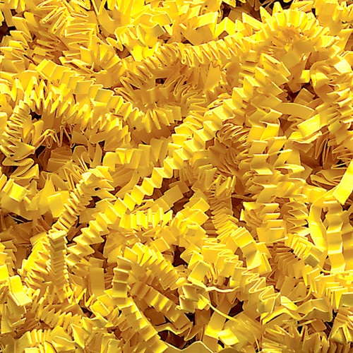 Yellow Crinkle cut gift wrap paper shredding for gifts, presents, craft projects and wedding favours
