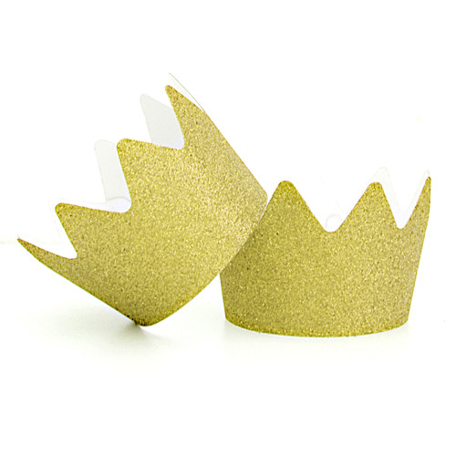 Gold Glitter Party Crowns for childrens birthday parties