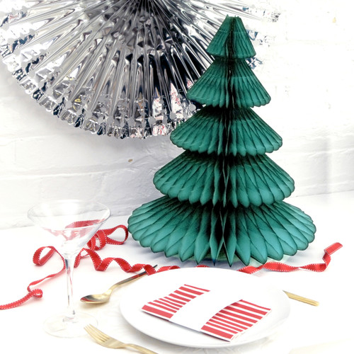 Modern and alternative teal Honeycomb Christmas Tree decoration for table centrepieces or party decor