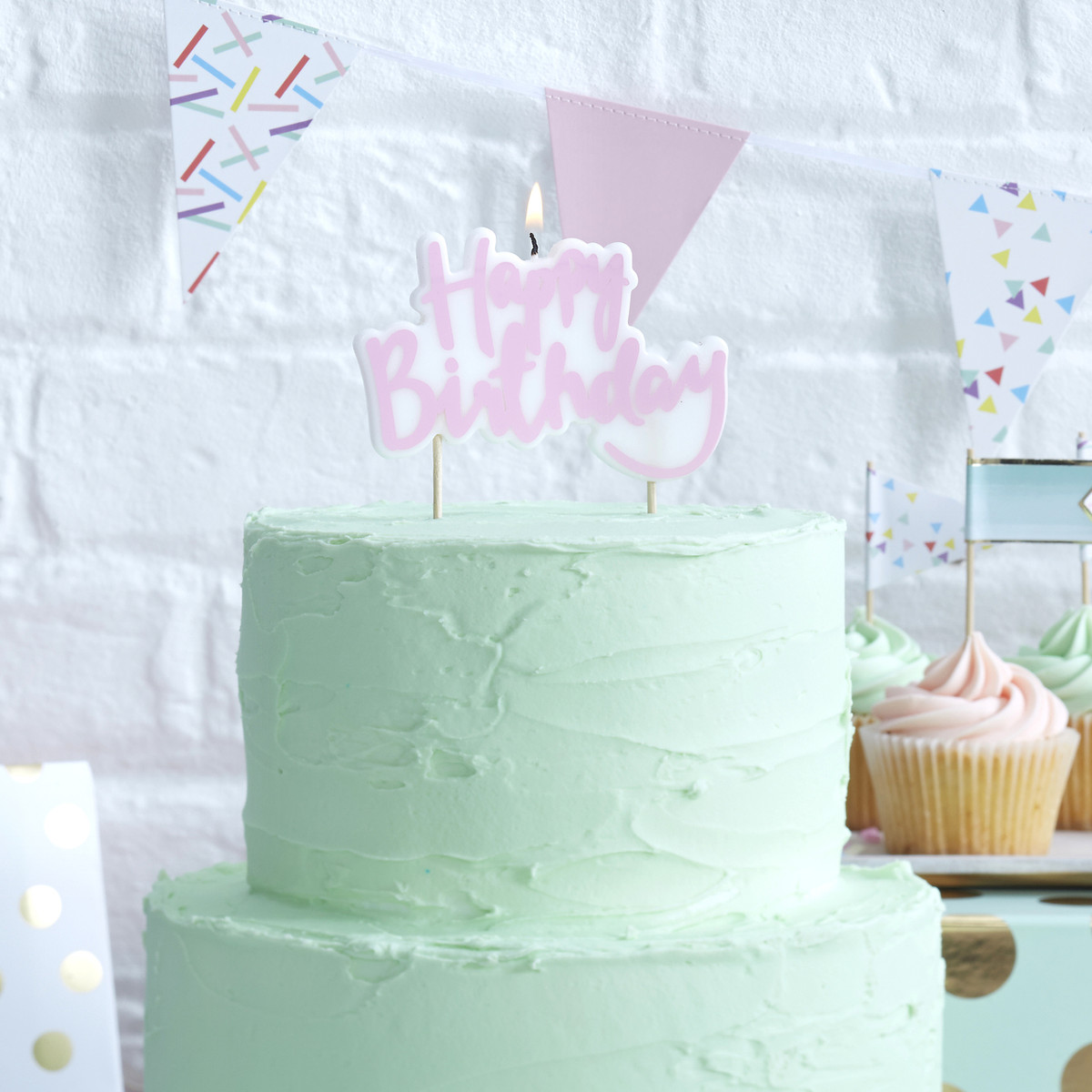 Pink Pastel Happy Birthday Cake Candle For Party Topper