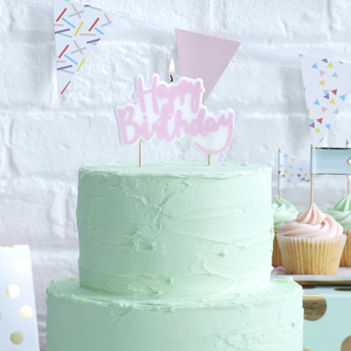 Pink pastel happy birthday cake candle for party cake topper