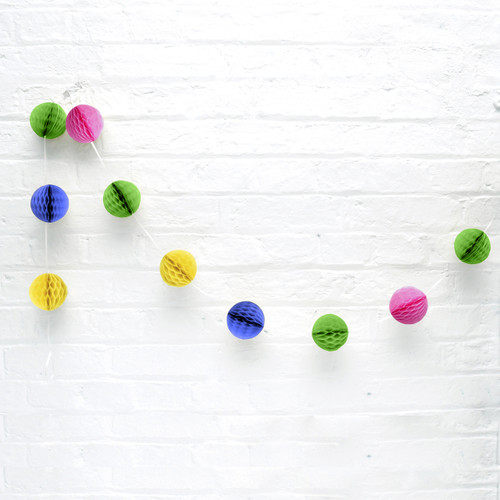 Mini Rainbow Honeycomb Ball Garland Decoration for Birthday Parties, Hen Dos, Baby Showers and Photo Booth Backdrops.