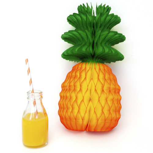 Paper pineapple decoration for tropical and Hawaiian themed birthday parties and weddings