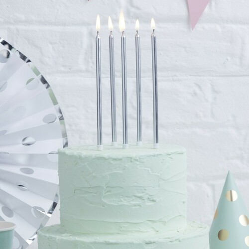 Long Silver Candles for Birthday Party Cakes and Cupcakes