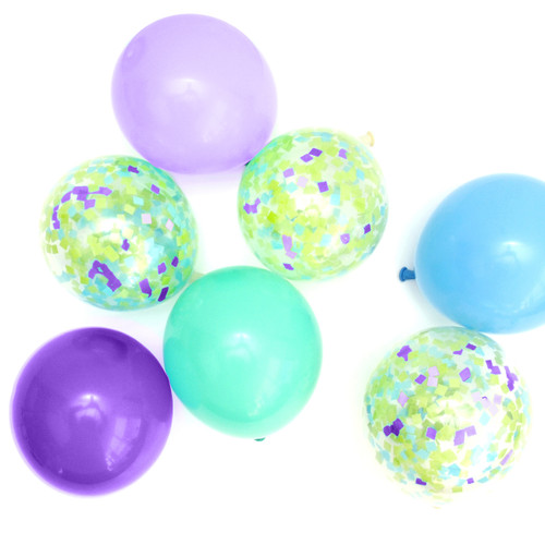 Green, purple and blue mermaid mix confetti balloon collection