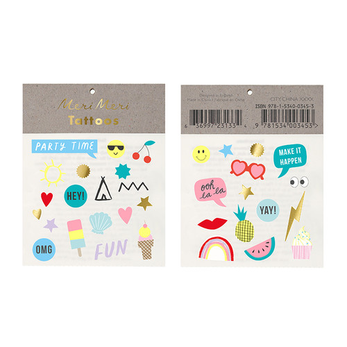 Fun and colourful temporary tattoos for children's birthday parties and hen dos.
