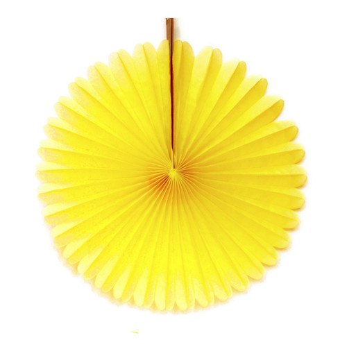 Yellow Tissue Paper Fan Decoration for Birthday Parties, Weddings, Baby Showers and Hen Dos