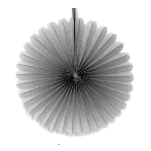 Grey Small Tissue Paper Fan Decoration for Birthday Parties, Weddings, Halloween and Hen Dos