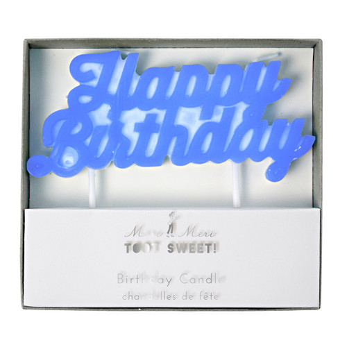 Blue script happy birthday cake candle for party cake topper