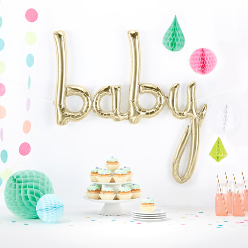 Gold Script Baby Balloon for Birthdays, Weddings or Hen Parties