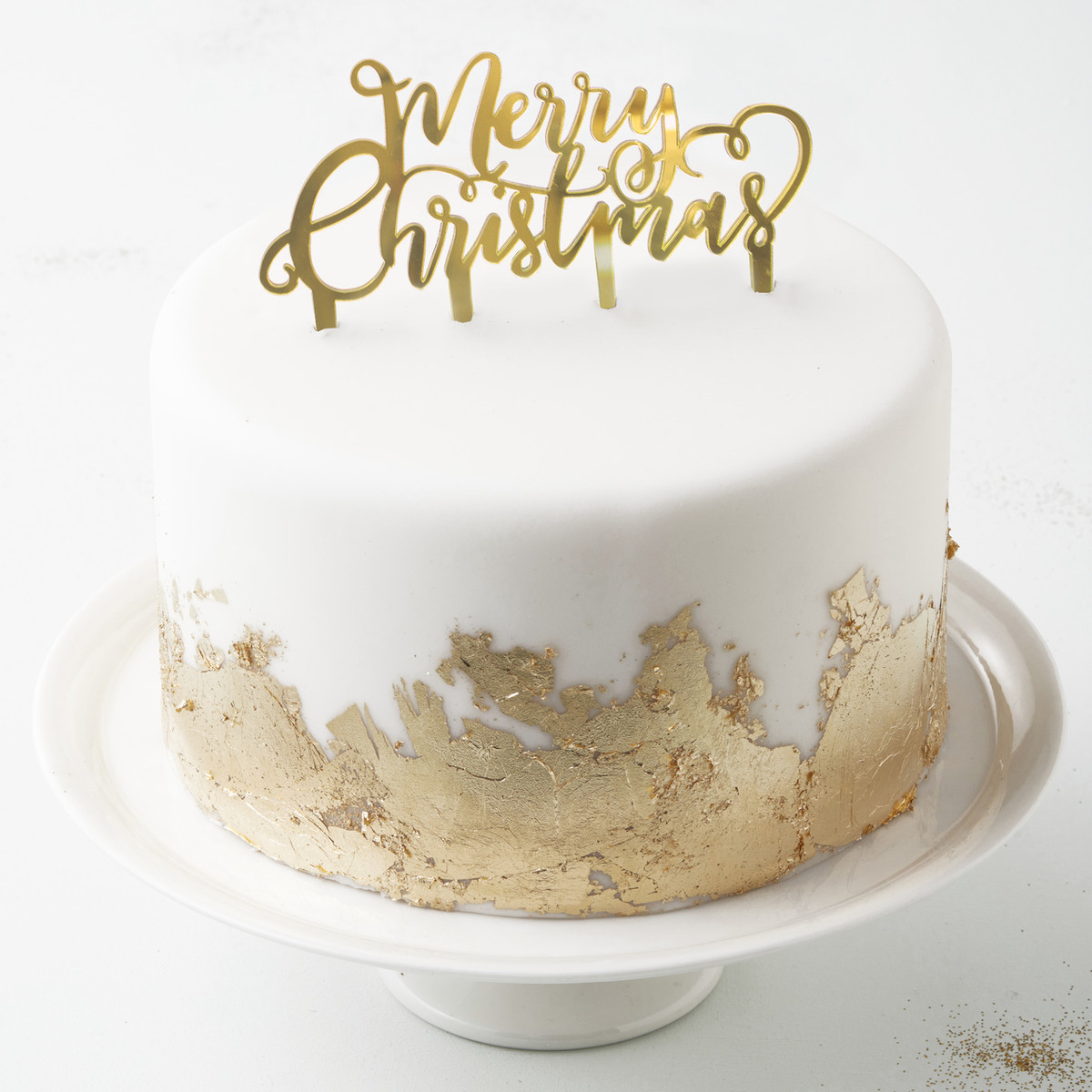Christmas Cake Decorations.Gold Merry Christmas Cake Topper