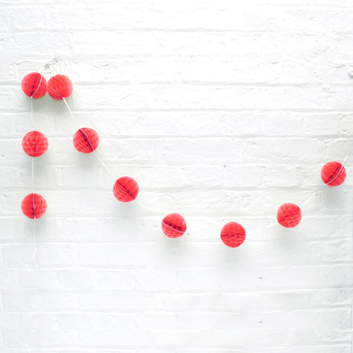 Mini red honeycomb ball garland decoration for Christmas parties