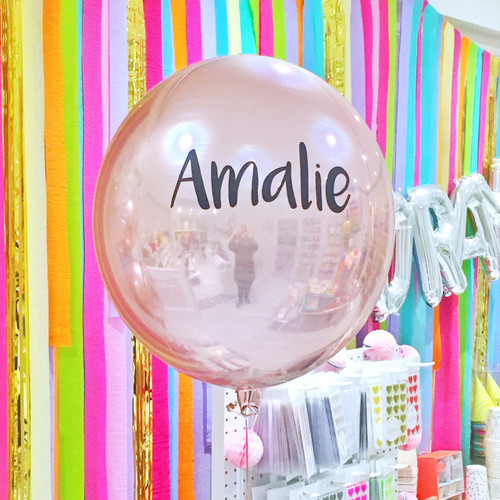 Personalised rose gold orb balloon