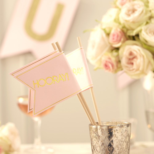 Pastel pink wedding hooray flags with shiny gold finish