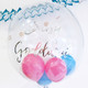 Bespoke Bubble balloon filled with balloons makes a wonderful gift and decoration for a baby shower or gender reveal