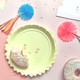 Smiling sun paper party plates for birthday parties, baby showers and summer celebrations