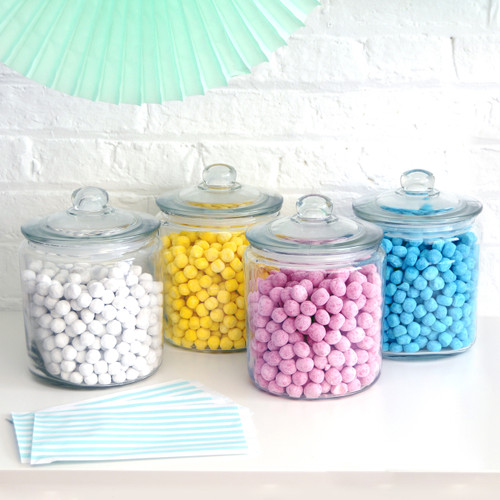Glass candy jar for party sweets tables, wedding dessert buffets and storing treats