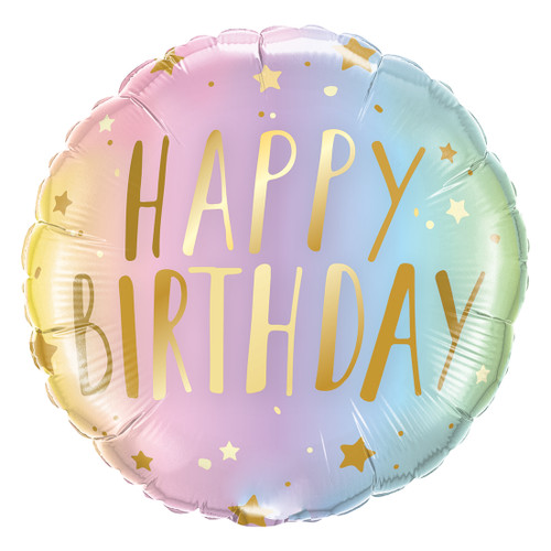 Pastel Ombre Happy Birthday Helium Foil Balloon for Unicorn Themed Birthday Parties