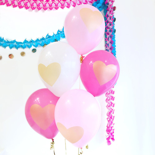 Gold Heart Pink and White Balloon Collection Party Decoration for Valentine's Day, Hen Party or Unicorn Themed Birthday Parties