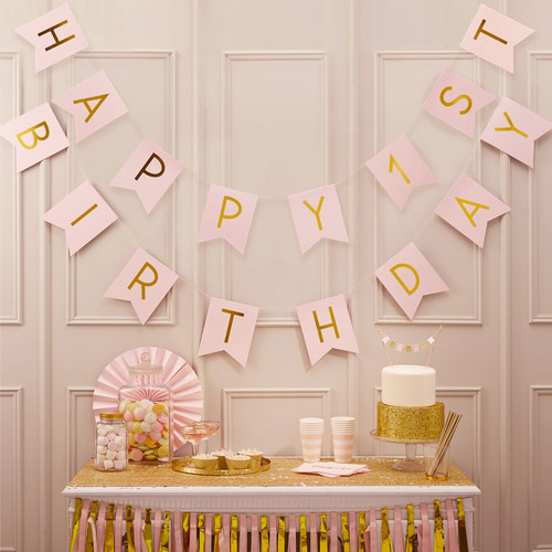 Pink and Gold Happy 1st Birthday Bunting Party Decoration for Special First Birthday Party Venue Decor
