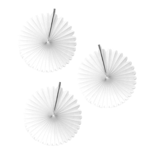 Mini white paper fan decoration set of three for birthday parties, baby showers and garden parties