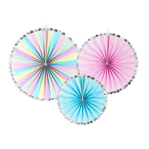 Pastel Party Fan Decoration Set for Unicorn Themed Birthday Parties, Hen Party or Baby Shower Venue Decor