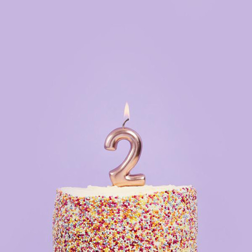 Rose Gold 2 Number Candle for Birthday Cakes and Anniversaries