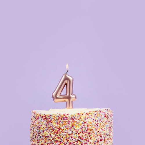 Rose Gold 4 Number Candle for Birthday Cakes and Anniversaries